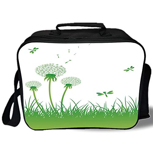(Insulated Lunch Bag,Dragonfly,Ecology Background with Dandelions Greenland Grass Habitat Nature Print Decorative,Lime Green White,for Work/School/Picnic, Grey)