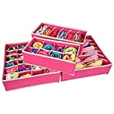 House of Quirk Set of 4 Foldable Storage Box Type Non-Smell Drawer Organizer Closet Storage for Socks Bra Tie Scarfs - Pink