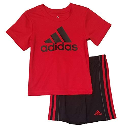 adidas Toddler Boys 2pc Short Sleeve Athletic T Shirt and Shorts Set (4, Red/Black)