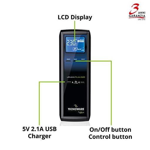 Tecnoware UPS EXA Plus 1500 Sistemas de alimentación ininterrumpida para Game PC y Consola - Alta Silenciosidad - 8… 3