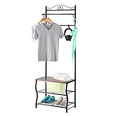 LANGRIA Entryway Coat Rack Metal Standing Hall Tree with 2-Tier Grid Wire Shoe Rack, Wooden Bench and Hat Umbrella Holder Features 5 Hooks (Black) - STURDY DESIGN: the LANGRIA entryway coat rack has a durable metal body, grid wire shoe rack, and wooden bench that each hold 22 lbs. MULTIPURPOSE ORGANIZER: this 3-in-1 hall tree can be used as a coat rack with its vertical bars and 5 sliding hooks, shoe rack, and bench SMART STORAGE: use your hall tree for storing shoes, bags, coats, scarfs and more; never find yourself in a messy room again - hall-trees, entryway-furniture-decor, entryway-laundry-room - 41uCXGQEUvL. SS400  -