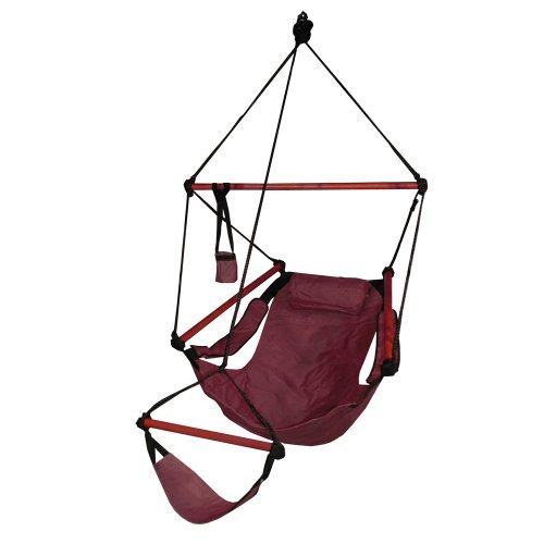 Hammaka Hanging Hammock Air Chair, Wooden Dowels, Burgundy by Hammaka