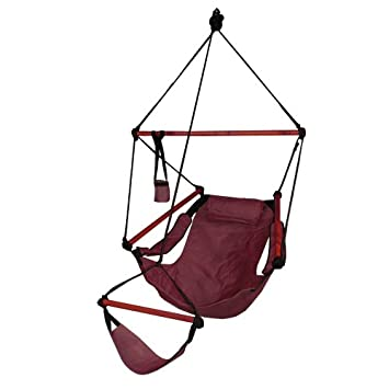Hammaka Hanging Hammock Air Chair, Wooden Dowels, Burgundy