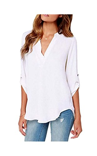 ARJOSA Women's Chiffon Deep V Neck Roll Up 3/4 Sleeve Blouse Tunic Shirt Top (X Large, 7 White)