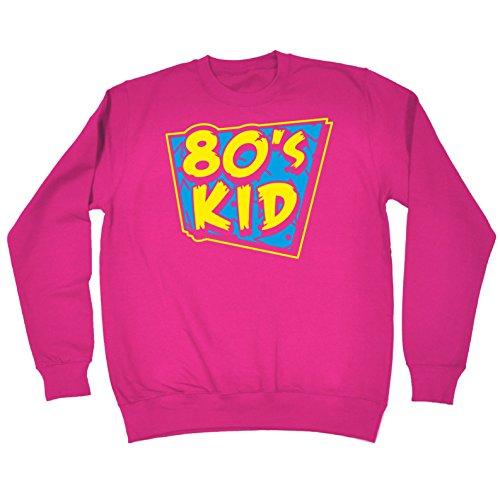 80 Enfants Sweat-shirt Costume Rétro Fantaisie Robe Disco Eighties 80 Rouge À Lèvres De Fête De Rose
