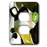 3dRose Jos Fauxtographee- Cow Ceramic Green - A ceramic Cow with a yellow sacrf and green nose with black white - Light Switch Covers - 2 plug outlet cover (lsp_290441_6)