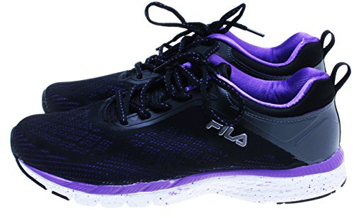 FILA Women's Memory Foam Outreach Running Shoes; Black/Purple (8.5 (Fila Athletic Shoes)