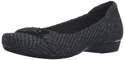 Clarks Women's Blanche West Flat, Black Synthetic, 10 W US by CLARKS