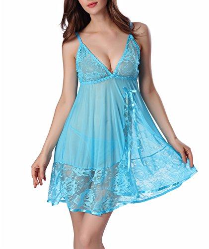 SWEETXIN Women Lace Lingerie Strap Babydoll Patchwork Nightwear Plus Size (Sky Blue, XL) by SWEETXIN