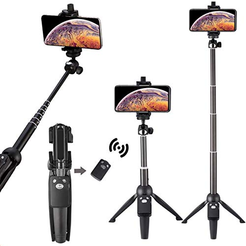 Eocean 40-inch Selfie Stick Tripod, Extendable Selfie Stick Tripod Stand with Wireless Remote, Compatible with iPhone Xs/Xr/Xs Max/X/8/8 Plus/Samsung Galaxy Note 9/S9/Huawei/Honor/Google and More (Video Taker)