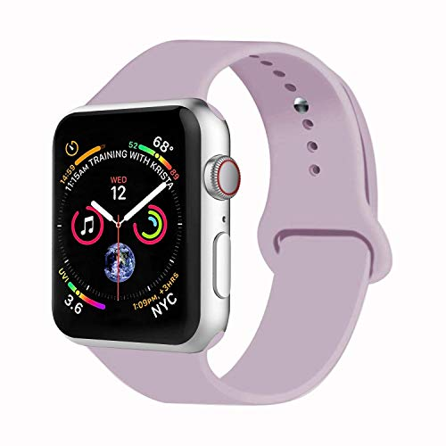 Lavender Apple - VATI Sport Band Compatible with Watch Band 38mm 42mm 40mm 44mm, Soft Silicone Strap Replacement Bands Compatible with Smart Watch Series 4/3/2/1 S/M M/L(Lavender,38mm S/M)