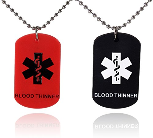 2 Pack - BLOOD THINNER Dog Tags Medical Alert Necklaces Red and Black Silicone