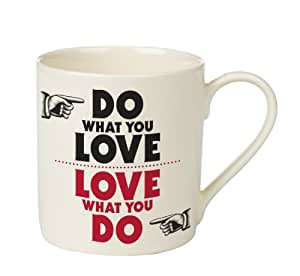 "Wild & Wolf - Taza con texto ""Love What You Do, Do What You Love"", color blanco, negro y rojo"