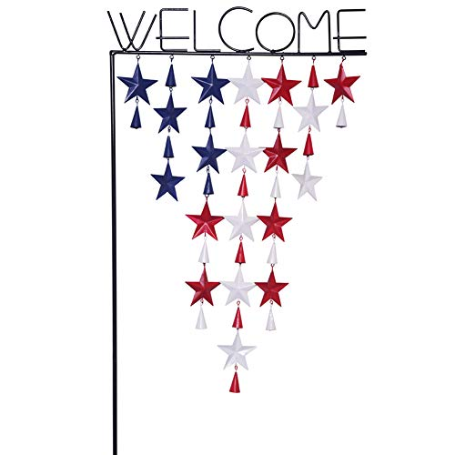 Yard Ornament - YEASL Welcome American Flag Wind Chimes Outdoor Metal Barn Star Ornaments Detachable Garden Flag Stand Wind Spinner 16.93'' W X 38.77'' H Yard Flag Sign