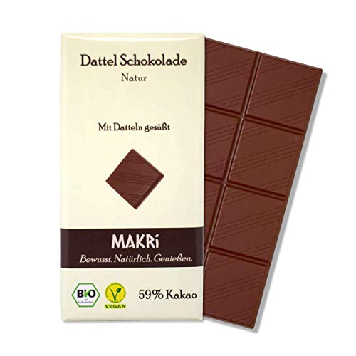 MAKRi Dattel Schokolade - Natur 59% Kakao | Vegane Schokolade mit Datteln gesüßt | Ohne raffinierten Zucker | Laktosefrei | Bio Halbbitter (1x 85g)