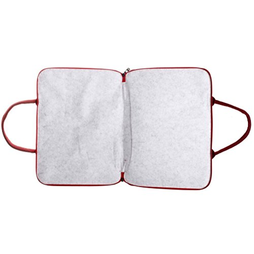 Laptop-Sleeve-Hugesavings-Felt-Handbag-Protective-Case-Sleeve-Cover-for-Computer-with-Zipper-Pocket-and-Handy-Strap-Briefcase-Tote-14-inch-Apple-iPad-Macbook-AirPro-LaptopNotebookWine-Red