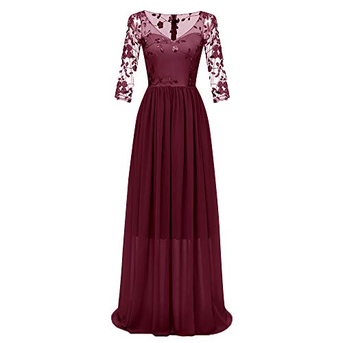 O-ring Long Gown - TANLANG Women Double Lace Embroidery Bride Dresses Lace Applique Chiffon Flutter Hem Long Sleeve Evening Formal Party Gowns Red