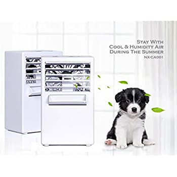NEX Mini Portable Air Conditioner Fan, 9.5-inch Personal Desktop Fan with Water Tank Quiet Space Cooler Small Evaporative Air Circulator Cooler Humidifier For Cooling Personal Space