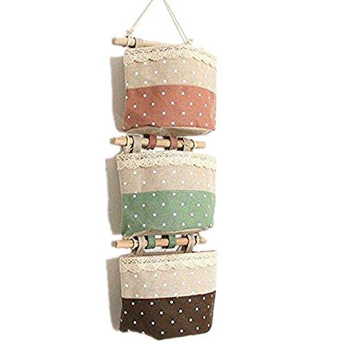 Baumwollspitze Stoff Dot Wasserdicht Bad Kleinbeträge Aufbewahrungstasche Finishing 3-Taschen Gadget Pouch Organizer Wandtasche Faltbar Tasche 12*14CM