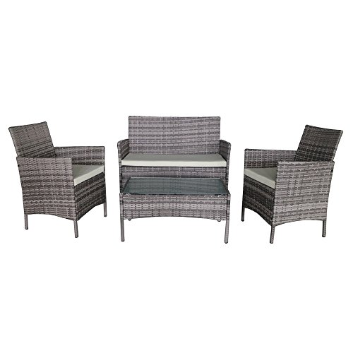 Palm Springs Deluxe 4 Piece Rattan Sofa Set w/Chairs, Tables & Cushions - - Palm Wicker Springs