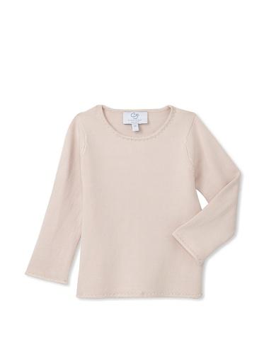 Beaded Silk Sweater (Baby CZ Girl's Silk Blend Beaded Shirt, Pink, 3T)
