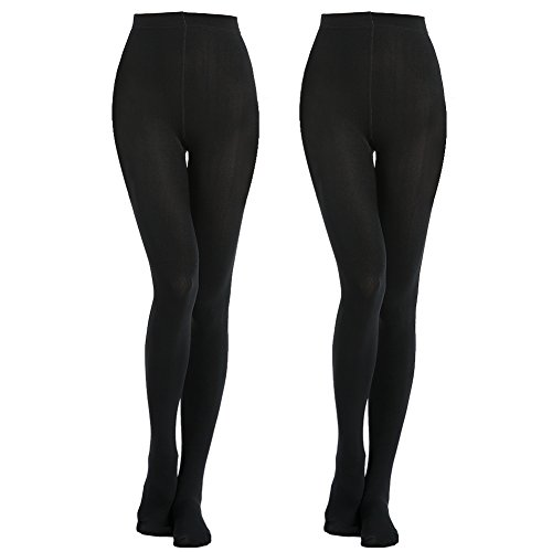MANZI 2 Pairs 400D Women's Black Thermal Warm Winter Fleece Tights