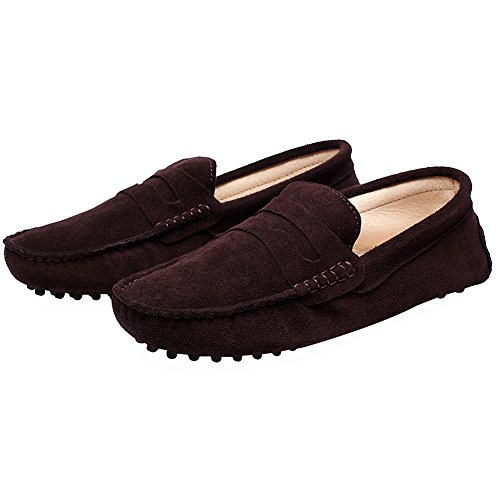 Rismart Hombre Resbalones Conduciendo Un Auto Loafer Flats Mocasines Zapatos Marrón