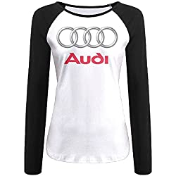 Women's Audi Logo Long Sleeve Raglan Baseball T Shirt Black