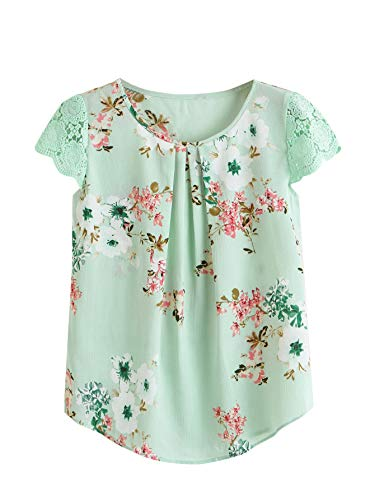 Milumia Women's Boho Floral Print Pleated Lace Cuff Cap Sleeve Work Blouse Top