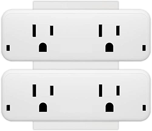 Smart Plug Wifi Outlet with Energy Monitoring and Timer Function, TIKLOK Smart Socket – Dual Outlets Can Work Individually or in Groups, Compatible with Alexa, Echo and Google Home 2 Pack