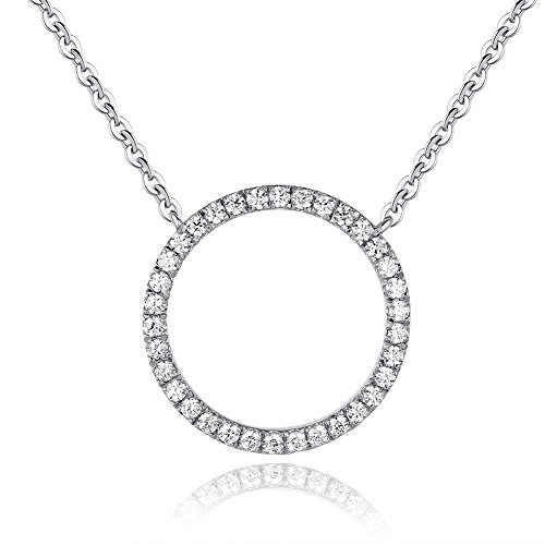 18K White Gold Plated Cubic Zirconia Open Circle, Circle of Life Pendant Necklace for Women & Girl Circle Zirconia Necklace