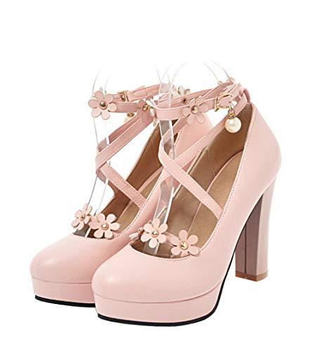 Chaussures Haut À Légeres Rose Femme Tsfdh004313 Couleur Talon Aalardom Boucle Unie xZgnwqIn0S