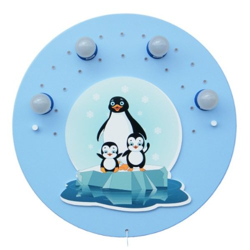 LED Pinguinfamilie blau 4er Deckenlampe elobra 126042