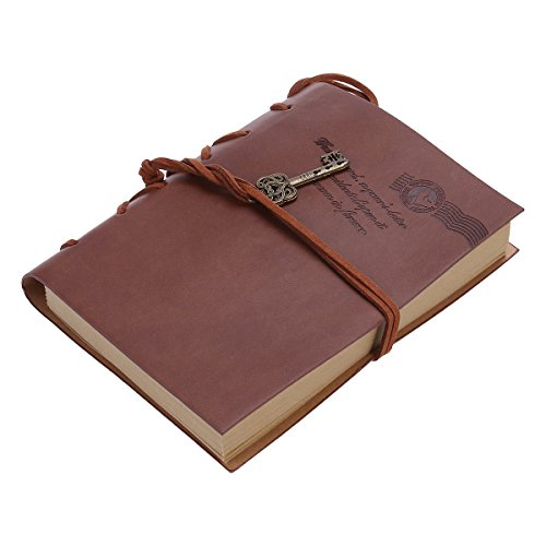 Foxnovo Leather Writing Journal Notebook, Antique Handmade Leather Bound Daily Notepad, Vintage Notebook with PU Cover, Classic Embossed Travel Diary Sketchbook to Write in , Best Gift (Coffee)