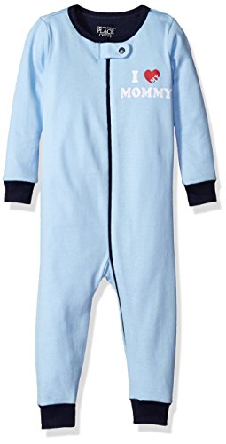 The Children's Place Baby Boys Long Sleeve One-Piece Pajamas, Mom's Heart (Brook) 78712, 6-9 Months Image