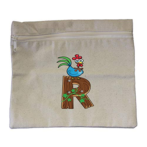 R Wooden Letter Rooster Letter Alphabet Cotton Canvas Zippered Pouch 12