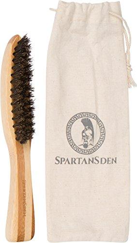 Spartans Den brosse à barbe pour les hommes | 100 % poils de sanglier naturel & écologique bambou poignée | Meilleur pour tailler la barbe lors de l'utilisation de l'huile, baume, cire & pommade | 100 % satisfaction garantie