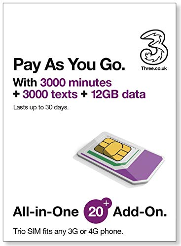PrePaid Europe (UK THREE) sim card 12GB data+3000 minutes+3000 texts for 30 days with FREE ROAMING / USE in 71 destinations including all European countries ()