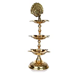 Hashcart (Set of 2) Handmade Indian Brass PanchMahal Diya Lamp Engraved 3 in 1 Adjustable Dia