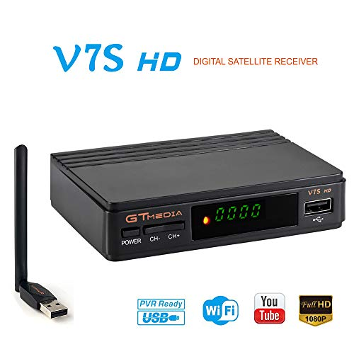 GTMEDIA V7S HD FTA Satellite Receiver DVB-S2 TV Digital Sat Decoder with Antenna WiFi USB Full HD 1080p Support PVR CCcam YouTube