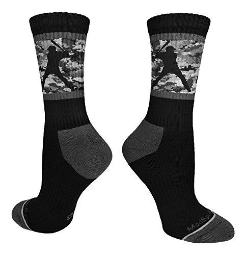 MadSportsStuff Baseball Socks with Player on Camo Background Crew Socks (Black/Graphite Camo, Medium)]()