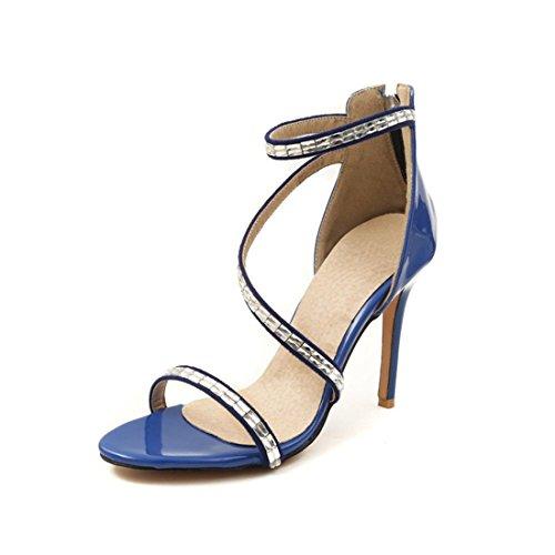 Sandalias Mujer/Sandalia con Pulsera para Mujer/La Sra. Verano Sandalias de Tacón Alto de Cuero Pintado Elegante Cremallera Sandalias de Banquetes de Perforación de Agua Blue