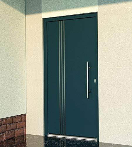 Casa Puerta Mundo hogar wh75 estándar para puerta aluminio con la de plástico 10 puerta 1080 x 2080 mm DIN derecha Color Exterior Antracita Interior Blanco außengriff bgr600 innendrucker M45 Cilindro 5