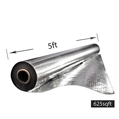 Earth Tack 625 sqft Radiant Barrier Insulation for Roof, Attic, Garage Goors, Windows, 59 in. x 125 ft. Aluminum Foil Roll by Earth Tack