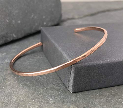 (Rose Gold Filled Hammered Thin Cuff Stacking Bracelet )