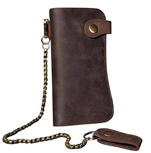 RS Men's Wallet Leather Bifold Vintage Long Style with Zipper Pockets Casual Card cases with Long Chain(Brown w/Iron Chain)