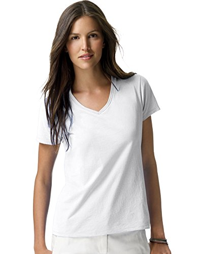 Hanes Ladies Ringspun Cotton Nano-T V-Neck T-Shirt, Large, White