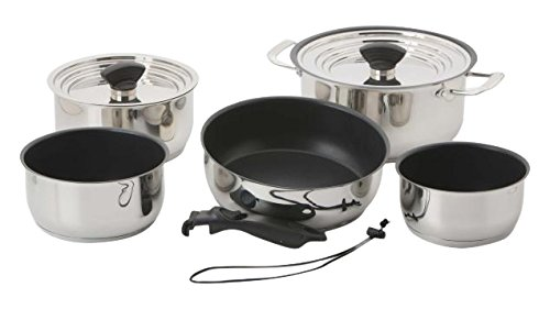 Galleyware Company 14 Piece Nesting Non-Stick Induction Cookware Set, Large, Silver