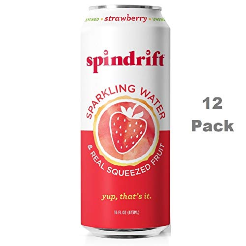 Spindrift Sparkling Water, Strawberry Flavored, Made with Real Squeezed Fruit, 16 Fluid Ounce Cans, Pack of 12 (Only 12 Calories per Seltzer Water Can)
