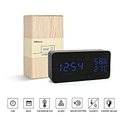 Desk Clock---FiBiSonic Black&Blue Digital Alarm Voice/Touch Control Desk Silent Modern Style Alarm Clock with Thermometer and Hygrometer